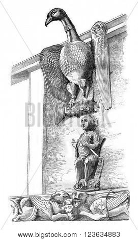The Eagle of St. John, in the church St. Ambrose of Milan, vintage engraved illustration. Magasin Pittoresque 1869.