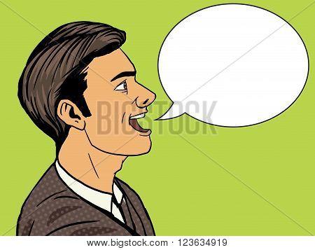 Man speak pop art style vector illustration. Human illustration. Comic book style imitation. Vintage retro style. Conceptual illustration