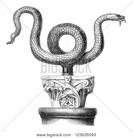 Snake bronze Serpent of Moses says, in the church St. Ambrose of Milan, vintage engraved illustration. Magasin Pittoresque 1869.