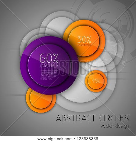Abstract Background With Glossy Circles. Glossy Buttons. Vector Design Elements.