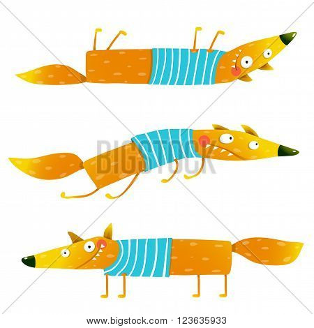 Fox animal fun cartoon watercolor style collection. Wildlife mammal, brightly colored. Character foxy creature. Vector illustration