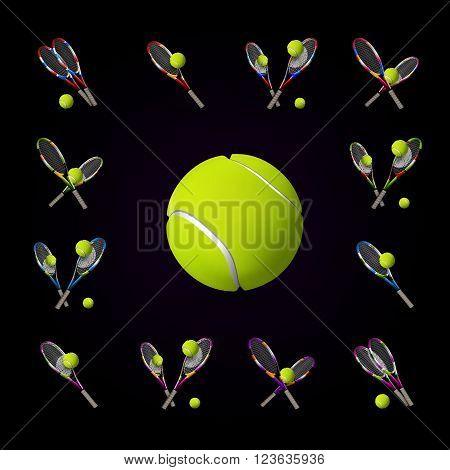 Vector Tennis Symbols As Design Elements, Tennis Balls, Tennis Rackets