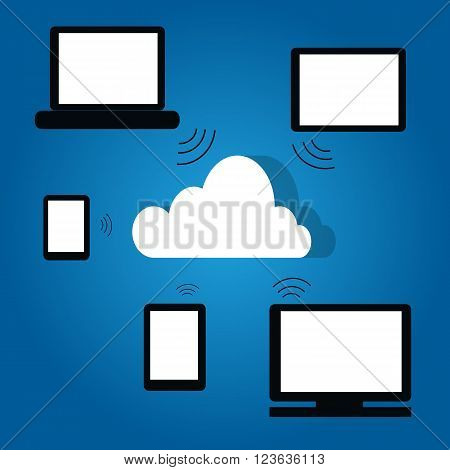 Cloud computing which the cloud on the center include device with white monitor such as tablet smartphone notebook Personal Computer to the cloud on blue gradient background
