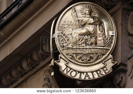 Official french notary's office symbol in Paris