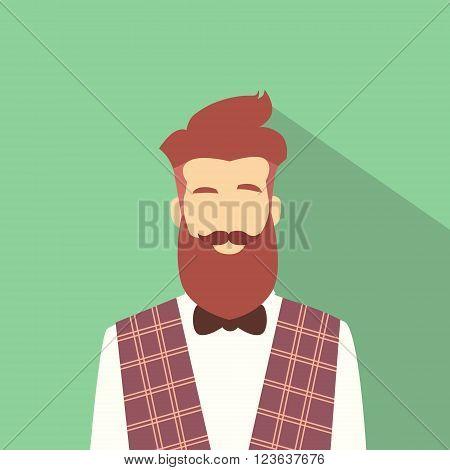 Business Man Profile Icon Male Avatar Hipster Style Fashion Cartoon Guy Beard Portrait Casual Businessman Person Face Flat Design Vector Illustration