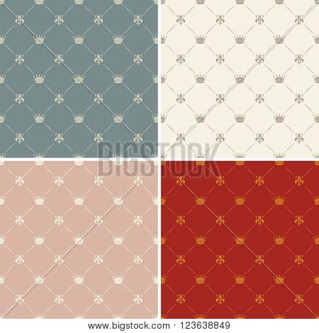Crown royal lily heraldic seamless pattern vector in 4 colour versions