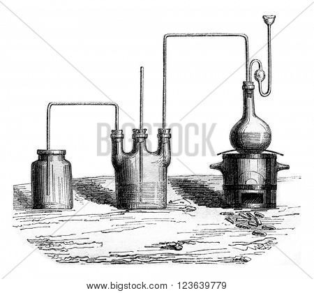 The apparatus for producing the chlorine gas, vintage engraved illustration. Magasin Pittoresque 1857.