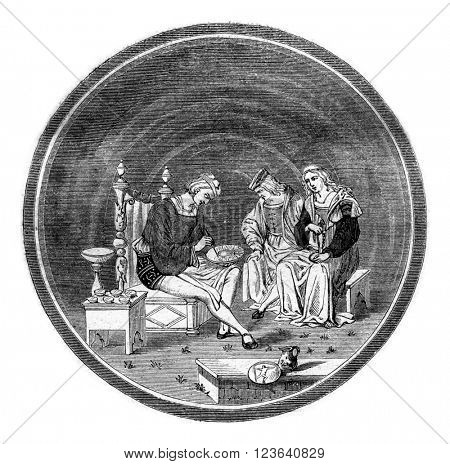 Earthenware dish of the sixteenth century, sold for three thousand francs in 1856, vintage engraved illustration. Magasin Pittoresque 1857.
