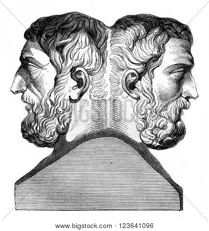 Hermes of Epicurus and Metrodorus, vintage engraved illustration. Magasin Pittoresque 1847.