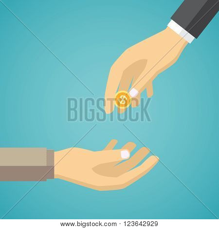 Hand giving golden coin to another hand. Charity concept in flat style.