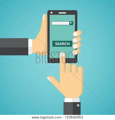 Human hands holding mobile phone with internet search field and search button on the screen.