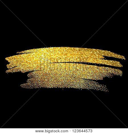 Gold sparkles on black background. Gold glitter background. Gold background for card, certificate, gift, luxury,  voucher, present
