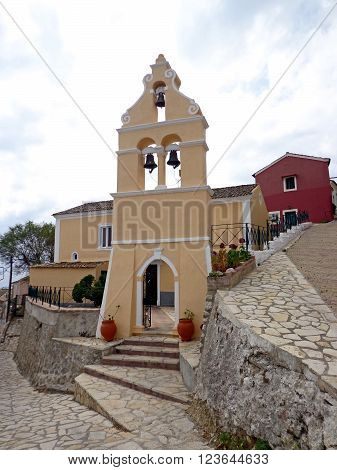 Church and bell tower in the village