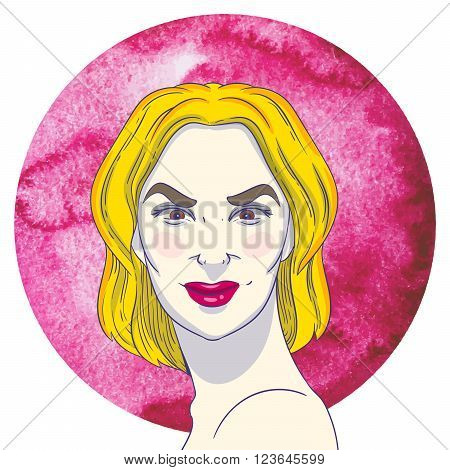 Portrait of arrogant young girl with blonde hair on the background of the watercolor circle