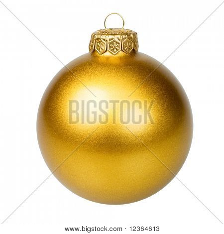Golden Christmas bauble on white background