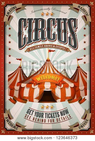 Illustration of retro and vintage circus poster background with marquee big top elegant titles and grunge texture for arts festival events and entertainment background poster