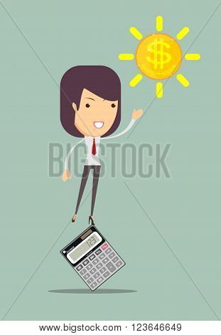 Female accountant manages money and leads them count on a calculator, vector illustration