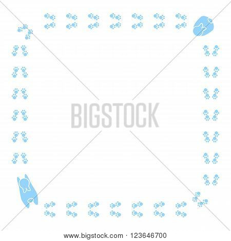 Cute cartoon bunny pawprint. Vector animal footprint frame border.