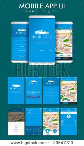 Online Cab Mobile App Material Design UI, UX and GUI Screens including Sign Up, Start, Pick Up Location, Login Form,  Destination, Map Navigation and Last Ride features for e-commerce business.