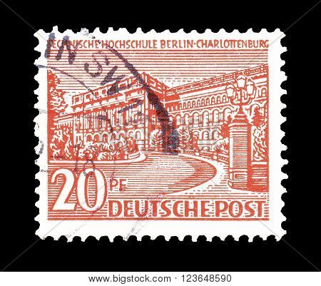 GERMANY - CIRCA 1949 : Cancelled postage stamp printed by Germany, that shows college in Charlottenburg.