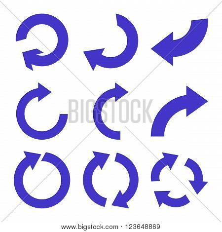 Rotate Clockwise vector icon set. Collection style is violet flat symbols on a white background.