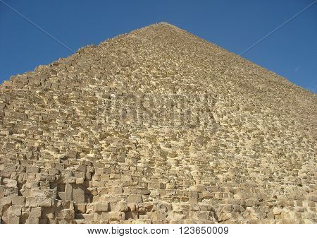 The Great Pyramid of Giza or the Pyramid of Khufu or the Pyramid of Cheops Cairo Egypt
