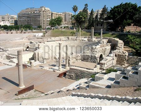 Ancient roman amphitheatre ruins in Alexandria, Egypt