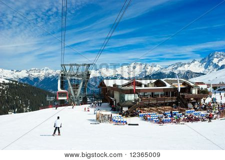 Aerial tramway and Restaurant at Alpine ski resort
