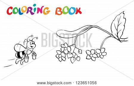 Coloring book or page. Fanny bee flowers and branch - vector illustration.