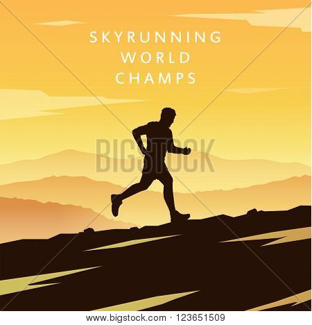 Mountain Running. Mountain Run. Runner silhouette. Running man. Vector running. Vector runner. Skyrunning poster Extreme sports. Vector Mountain landscape. Outdoor sports. Hiking