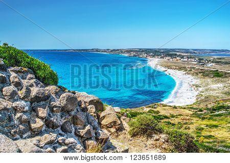 San Giovanni di Sinis beach on a clear day Sardinia