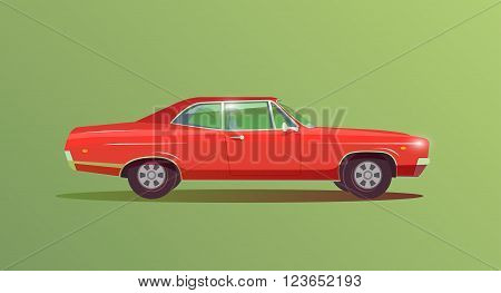 Sports car in the style of 60s-70s. Retro car. Concept racing car. Muscle car. Vector illustration. Modern flat design.