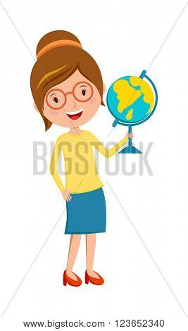 Happy primary school teacher with globe hand cartoon vector