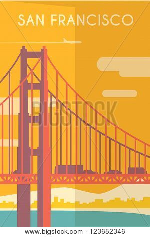 Vector retro poster in art Deco style. San Francisco. California. The Golden Gate Bridge. Flat design.