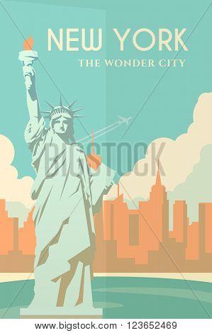 Vector retro poster in art Deco style. New York. Cityscape. The statue of liberty. Seaport. Flat design.