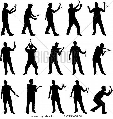 Man with wrench black vector silhouettes on white background