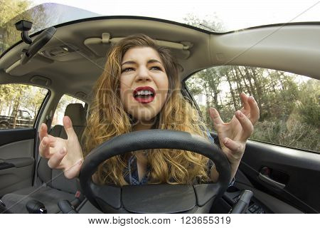 Silly girl gets into car crash and makes ridiculous face