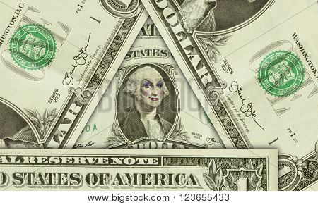 George Washington wearing women's makeup as drag queen