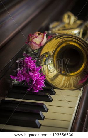 Old and worn Jazz trumpet and piano with dried flowers ** Note: Shallow depth of field