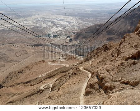 A ride on aerial tramway to Masada Israel