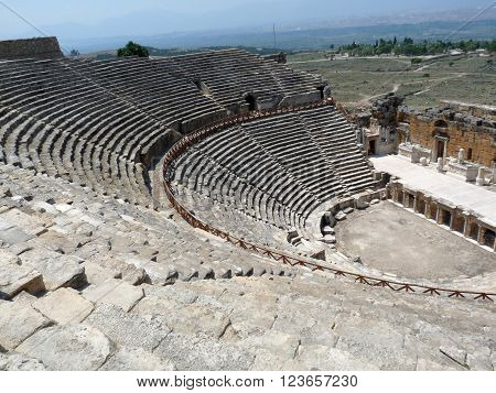 The ancient greek Hierapolis Amphitheatre, Anatolia, Turkey
