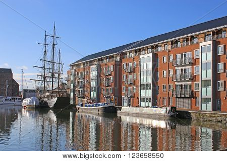 Tall ship moored in Gloucester Dock canal basin