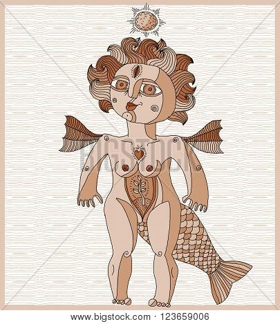 Vector illustration of bizarre creature nude woman with wings animal side of human being. Goddess conceptual hand drawn allegory image lined drawing of idol.