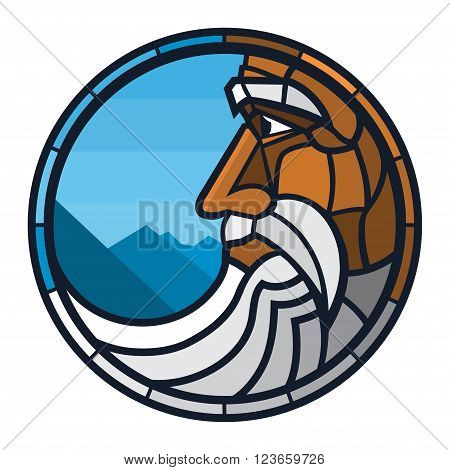 Grand father Logo. Vector old man with beard and mustaches in mountains.
