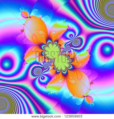 Colorful fractal floral pattern digital artwork for creative graphic desig