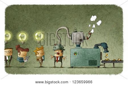 Machine stealing idea from man's head and converting it in money. People in queue with illuminated bulbs