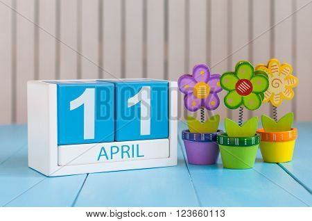 April 11th. Image of april 11 wooden color calendar on white background with flower. Spring day, empty space for text. International Day Of Fascist Concentration Camps Prisoners Liberation.