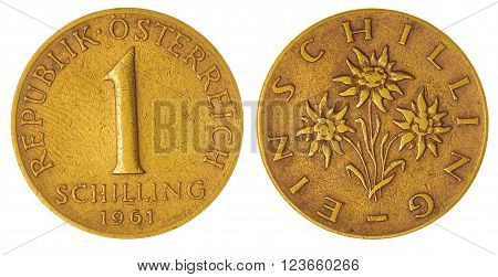 1 Schilling 1961 Coin Isolated On White Background, Austria