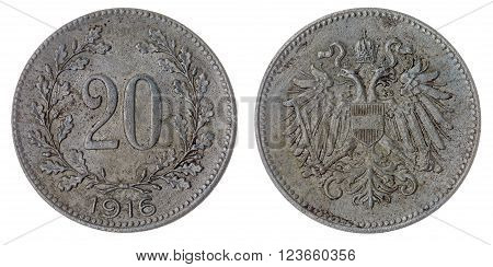 20 Heller 1916 Coin Isolated On White Background, Austro-hungarian Empire
