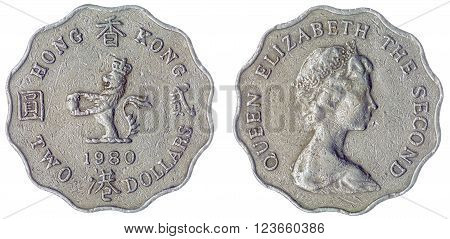 2 Dollars 1980 Coin Isolated On White Background, Hong Kong